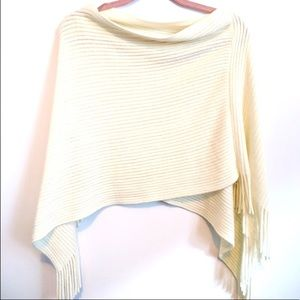 New Ardene cream fringe poncho